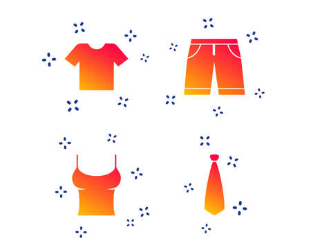 Clothes icons. T-shirt and bermuda shorts signs. Business tie symbol. Random dynamic shapes. Gradient shorts icon. Vector Illustration
