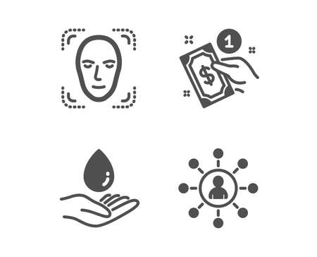 Set of Face detection, Payment method and Water care icons. Networking sign. Detect person, Give money, Aqua drop. Business communication.  Classic design face detection icon. Flat design. Vector Archivio Fotografico - 118567371