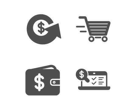 Set of Dollar exchange, Delivery shopping and Dollar wallet icons. Online accounting sign. Money refund, Online buying, Cash money. Web audit.  Classic design dollar exchange icon. Flat design. Vector