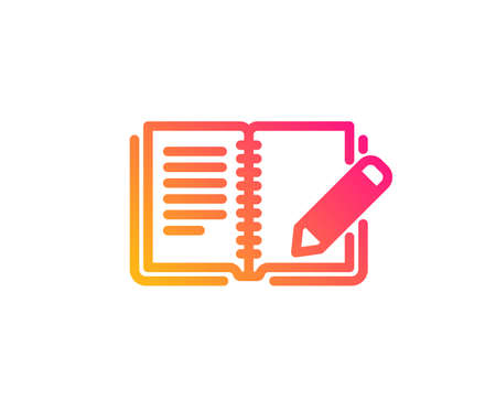 Feedback icon. Book with pencil sign. Copywriting symbol. Classic flat style. Gradient feedback icon. Vector