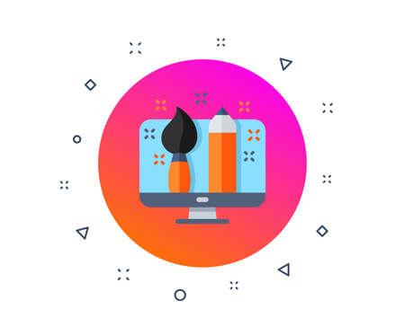 Creative design icon. Painting brush art sign. Drawing pencil. Creativity designer screen display. Portfolio design. Creative brush. Random dynamic shapes. Gradient creative designer button. Vector