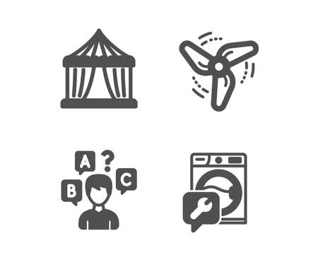 Set of Quiz test, Circus tent and Wind energy icons. Washing machine sign. Interview, Attraction park, Ventilator. Repair service.  Classic design quiz test icon. Flat design. Vector