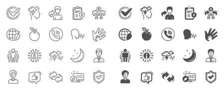Check mark, Sharing economy and Mindfulness stress, Breath people line icons. Privacy Policy, Social Responsibility, Breath icons. Bad weather, Tick check mark, sharing refer, stress. Quality sign set