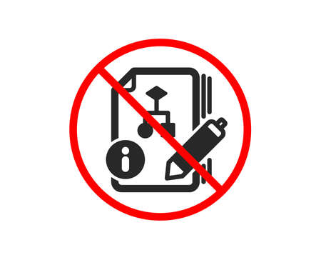 No or Stop. Documentation with algorithm icon. Technical instruction sign. Prohibited ban stop symbol. No algorithm icon. Vector