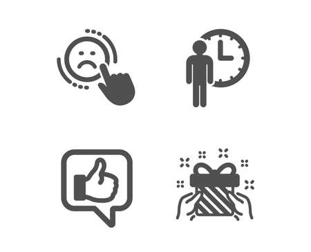 Set of Waiting, Dislike and Like icons. Gift sign. Service time, Negative feedback, Thumbs up. Present.  Classic design waiting icon. Flat design. Vector Stockfoto - 118659443