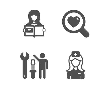 Set of Repairman, Search love and Woman read icons. Hospital nurse sign. Repair screwdriver, Dating service, Girl studying. Medical assistant.  Classic design repairman icon. Flat design. Vector