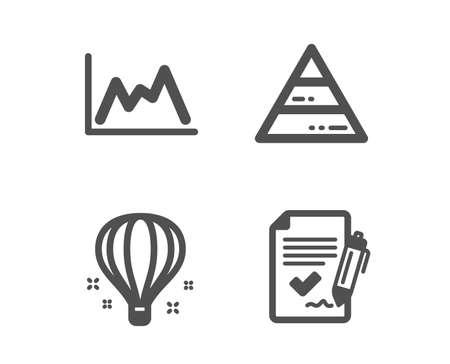 Ensemble d'icônes de ballon à air, de diagramme pyramidal et de diagramme. Signe d'accord approuvé. Sky travelling, analyse de rapport, graphique de croissance. Document de signature. Icône de ballon à air design classique. Conception plate. Vecteur