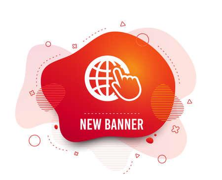 Fluid badge. Internet sign icon. World wide web symbol. Cursor pointer. Abstract shape. Gradient internet icon. Flyer liquid banner. Vector