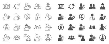 Users line icons. Profile, Group of people and Support signs. ID card, Teamwork people and Businessman user symbols. Person talk, Engineer profile and Human Management. Job support. Quality sign set