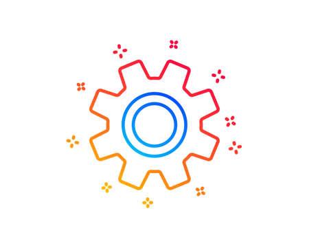 Cogwheel line icon. Service sign. Transmission Rotation Mechanism symbol. Gradient design elements. Linear service icon. Random shapes. Vector Stock Vector - 124535191