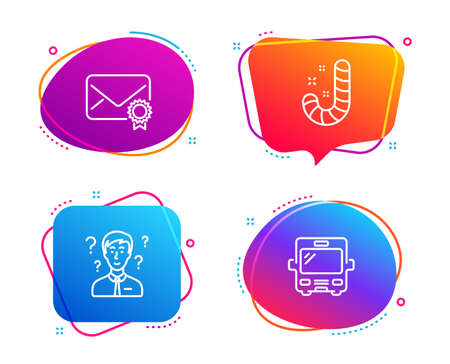 Support consultant, Candy and Verified mail icons simple set. Bus sign. Question mark, Lollypop, Confirmed e-mail. Tourism transport. Speech bubble support consultant icon. Colorful banners design set
