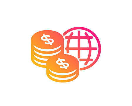World money icon. Global markets sign. Internet payments symbol. Classic flat style. Gradient world money icon. Vector