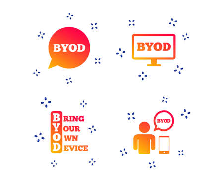 BYOD icons. Human with notebook and smartphone signs. Speech bubble symbol. Random dynamic shapes. Gradient byod icon. Vector