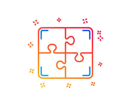 Puzzle line icon. Engineering strategy sign. Gradient design elements. Linear puzzle icon. Random shapes. Vector Çizim