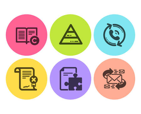 Copyright, Call center and Pyramid chart icons simple set. Strategy, Reject certificate and E-mail signs. Copywriting book, Recall. Business set. Flat copyright icon. Circle button. Vector