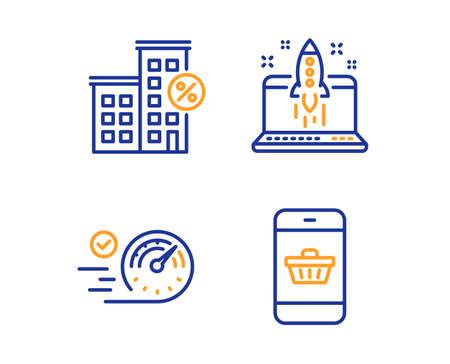 Casa de préstamo, inicio de negocios y conjunto simple de iconos de velocímetro. Signo de compra de smartphone. Porcentaje de descuento, idea de lanzamiento, concepto de tiempo. Compras en el sitio web. Conjunto de negocios. Icono de casa de préstamo lineal. Vector