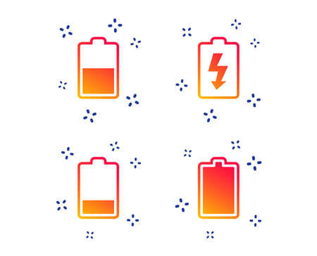 Battery charging icons. Electricity signs symbols. Charge levels: full, half and low. Random dynamic shapes. Gradient battery icon. Vector