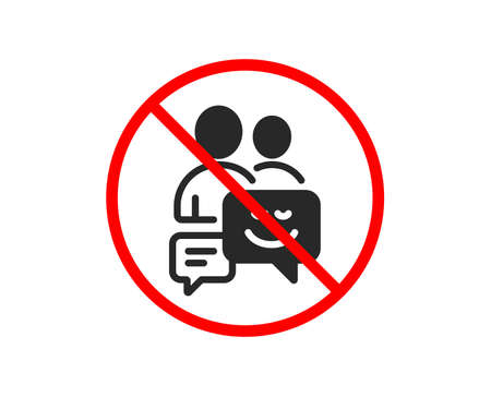 No or Stop. Group of Men icon. Human communication symbol. Teamwork sign. Prohibited ban stop symbol. No communication icon. Vector Illustration