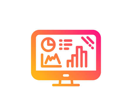 Analytics graph icon. Column chart sign. Growth diagram symbol. Classic flat style. Gradient analytics graph icon. Vector