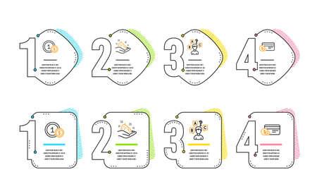 Test de quiz, soins de la peau et icônes de pièces de monnaie Usd ensemble simple. Signe de mode de paiement. Entretien, Crème pour les mains, Paiement en espèces. Ensemble d'affaires. Chronologie de l'infographie. Icône de test de quiz de ligne. 4 options ou étapes. Vecteur