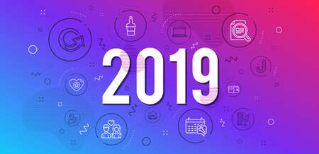 Infographic concept. Candy, Check article and Car travel icons simple set. Contactless payment, Reload and Couple love signs. Notebook, Payment methods and Scotch bottle symbols. 2019 year. Vector