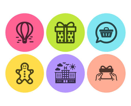 Hotel, Gingerbread man and Gift box icons simple set. Shopping cart, Air balloon and Give present signs. Travel, Christmas cookie. Holidays set. Flat hotel icon. Circle button. Vector Ilustração