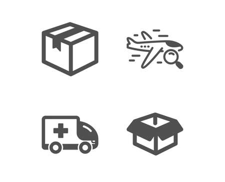 Set of Ambulance emergency, Search flight and Parcel icons. Opened box sign. Medical transport, Find travel, Shipping box. Shipping parcel.  Classic design ambulance emergency icon. Flat design