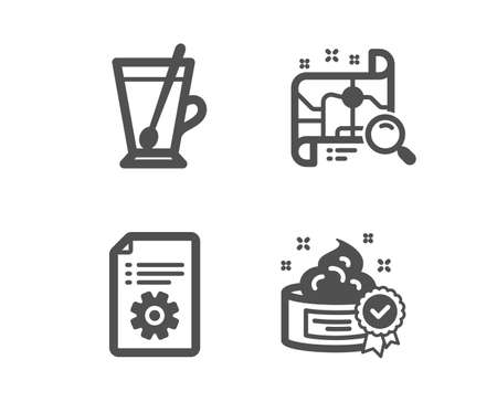 Set of Technical documentation, Tea mug and Search map icons. Cream sign. Manual, Cup with teaspoon, Find address. Best lotion.  Classic design technical documentation icon. Flat design. Vector Ilustração
