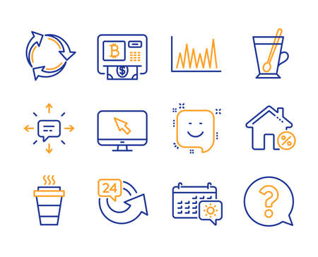 Travel calendar, Sms and Tea mug icons simple set. Recycle, Takeaway and Bitcoin atm signs. 24 hours, Internet and Line graph symbols. Loan house, Smile and Question mark. Line travel calendar icon