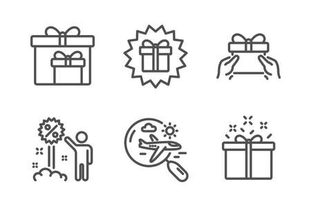 Discount, Surprise gift and Give present icons simple set. Search flight, Delivery boxes and Special offer signs. Sale shopping, Shopping offer. Holidays set. Line discount icon. Editable stroke