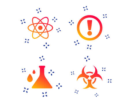 Attention and biohazard icons. Chemistry flask sign. Atom symbol. Random dynamic shapes. Gradient biohazard icon. Vector