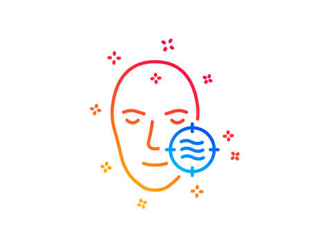 Problem face skin line icon. Need facial care sign. Target symbol. Gradient design elements. Linear problem skin icon. Random shapes. Vector