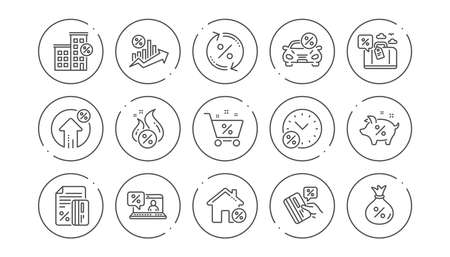 Loan line icons. Investment, Interest rate and Percentage diagram. Car leasing linear icon set. Line buttons with icon. Editable stroke. Vector Illustration