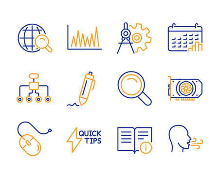 Internet search, Calendar graph and Line graph icons simple set. Cogwheel dividers, Signature and Computer mouse signs. Gpu, Search and Quickstart guide symbols. Line internet search icon. Vector Illustration