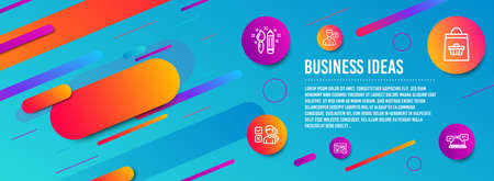 Header banner. Opinion, Creativity and Online buying icons simple set. Valet servant, Web timer and Internet chat signs. Choose answer, Graphic art. Business set. Line opinion icon. Gradient elements