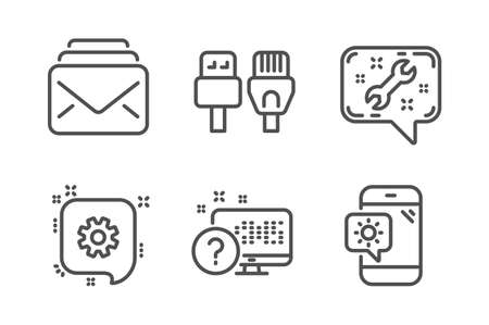 Cogwheel, Computer cables and Online quiz icons simple set. Spanner, Mail and Weather phone signs. Engineering, Rj45 internet. Technology set. Line cogwheel icon. Editable stroke. Vector