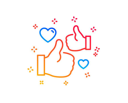 Like line icon. Thumbs up with heart sign. Positive feedback, social media symbol. Gradient design elements. Linear like icon. Random shapes. Vector