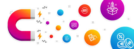 Magnet attracting. Money transfer, Refund commission and Hot loan icons simple set. Pay money, Startup and Currency exchange signs. Cashback message, Cashback card. Finance set. Vector Illusztráció