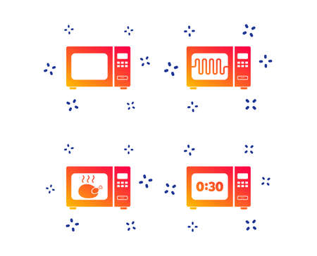 Microwave oven icons. Cook in electric stove symbols. Grill chicken with timer signs. Random dynamic shapes. Gradient microwave icon. Vector