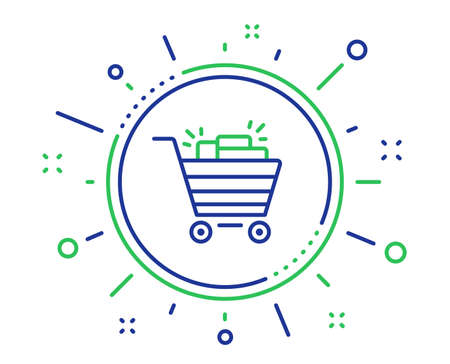 Shopping cart line icon. Sale Marketing symbol. Special offer sign. Quality design elements. Technology shopping cart button. Editable stroke. Vector