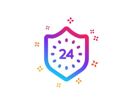 24 hours protection icon. Shield sign. Dynamic shapes. Gradient design 24 hours icon. Classic style. Vector