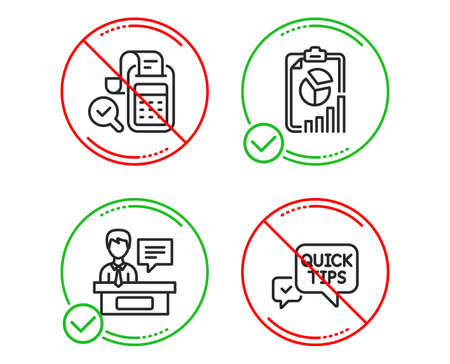 Do or Stop. Bill accounting, Exhibitors and Report icons simple set. Quick tips sign. Audit report, Information desk, Presentation chart. Helpful tricks. Line bill accounting do icon. Vector