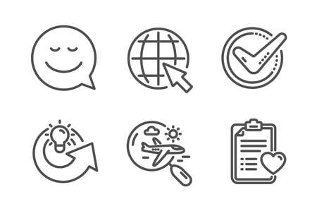 Smile, Search flight and Confirmed icons simple set. Internet, Share idea and Patient history signs. Chat emotion, Airplane trip. Business set. Line smile icon. Editable stroke. Vector