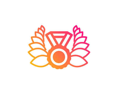 Laurel wreath icon. Winner medal symbol. Prize award sign. Classic flat style. Gradient laureate medal icon. Vector Stock Vector - 124535292