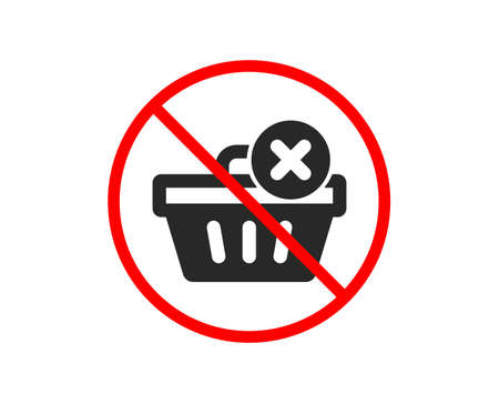 No or Stop. Remove Shopping cart icon. Online buying sign. Supermarket basket symbol. Prohibited ban stop symbol. No delete purchase icon. Vector