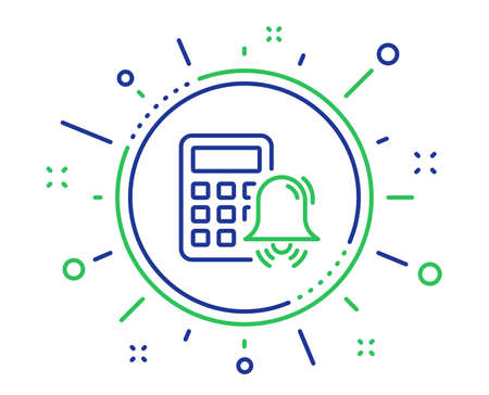 Calculator alarm line icon. Accounting sign. Calculate finance symbol. Quality design elements. Technology calculator alarm button. Editable stroke. Vector