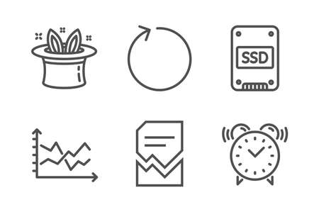Diagram chart, Corrupted file and Ssd icons simple set. Hat-trick, Loop and Alarm clock signs. Presentation graph, Damaged document. Business set. Line diagram chart icon. Editable stroke. Vector