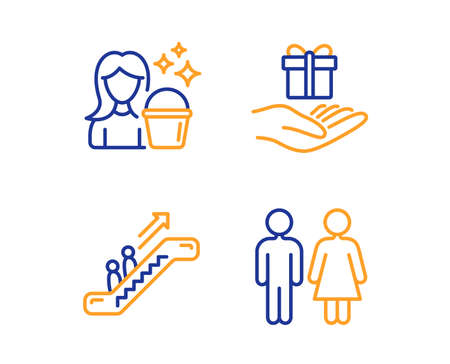 Escalator, Cleaning and Loyalty program icons simple set. Restroom sign. Elevator, Maid service, Gift. Wc toilet. People set. Linear escalator icon. Colorful design set. Vector Imagens - 124535312