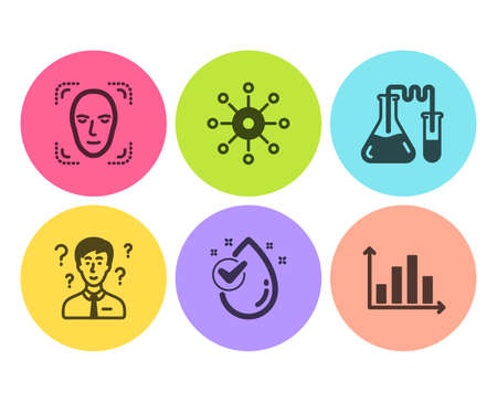 Chemistry lab, Water drop and Support consultant icons simple set. Face detection, Multichannel and Diagram graph signs. Medical laboratory, Clean aqua. Science set. Flat chemistry lab icon. Vector