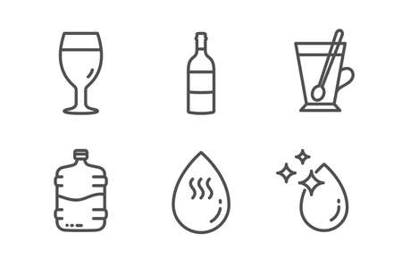 Wine bottle, Beer glass and Tea mug icons simple set. Cooler bottle, Hot water and Water drop signs. Cabernet sauvignon, Brewery beverage. Food and drink set. Line wine bottle icon. Editable stroke